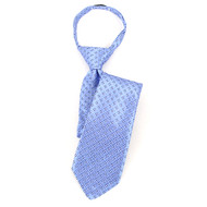 "Boy's 17"" Blue & White Square Grid Zipper Tie MPWZ17-13"