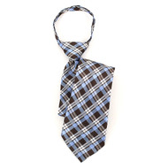 "Boy's 17"" Brown & Blue Plaid Zipper Tie MPWZ17-14"