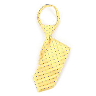 "Boy's 17"" Yellow & Blue Polka Dot Striped Zipper Tie MPWZ17-15"