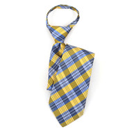 "Boy's 17"" Blue & Gold Plaid Zipper Tie MPWZ17-17"