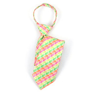 "Boy's 17"" Green, Orange & Pink Blocks Zipper Tie MPWZ17-18"