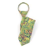 "Boy's 17"" Green & Purple Paisley Zipper Tie MPWZ17-20"