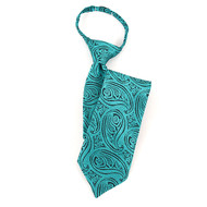 "Boy's 17"" Teal & Black Paisley Zipper Tie MPWZ17-21"