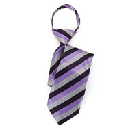 "Boy's 17"" Purple & Silver Striped Zipper Tie MPWZ17-22"