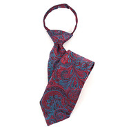 "Boy's 17"" Red & Blue Paisley Zipper Tie MPWZ17-23"