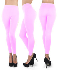 12pc 100% Poly Stretch Leggings Pink L0637