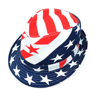 6pcs Two Sizes Spring/Summer American Flag Fedora Hat - H10326