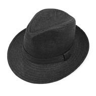 6pcs Two Sizes Spring/Summer Black Wide Brim Fedora Hat - H10200