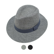 6pcs Two Sizes Spring/Summer Black Wide Brim Fedora Hat with Band Trim  - H10201