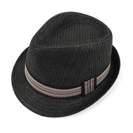 Spring/Summer Black Fedora Hat with Band Trim - H10212