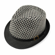 Spring/Summer Two-Tone Woven Gray Fedora Hat with Faux Leather Trim - H10210