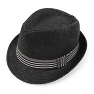 Spring/Summer Black Fedora Hat with Stripe Trim - H10207