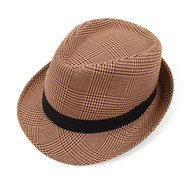 Fall/Winter Hounds Tooth Brown Fedora Hat with Band Trim - H10335N