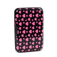 12pc Pack Card Guard Aluminum Compact Wallet Credit Card Holder with RFID Protection - Pink Heart
