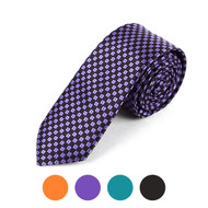 "Checkered Microfiber Poly Woven 2.25"" Slim Tie - MPWS5710"
