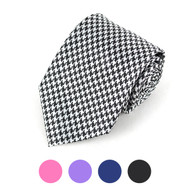 Houndstooth Microfiber Poly Woven Tie - MPW5706