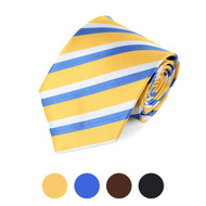 Striped Microfiber Poly Woven Tie - MPW5723