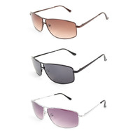 12pc. Unisex 3 Colors Double Bridge Metal Sunglasses MS001