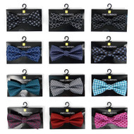 12pc Prepack Assorted Abstract Pattern Poly Woven Banded Bow Ties FBB-ATD