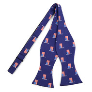Men's Blue American Flag Self-Tie Freestyle Bow Tie (FBMP10027)