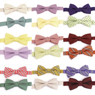 "24pc Random Assorted Boy's 1.75"" Polyester Woven Banded Bow Ties"