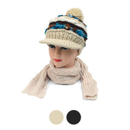 Multi-Color Knit Acrylic 2-Piece Visor Beanie Hat and Scarf Winter Set WNTSET20