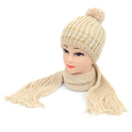 12pc Prepack Beige Knit Acrylic 2-Piece Beanie Hat and Scarf Winter Set WNTSET21