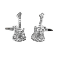 Silver Guitar Novelty Cufflinks NCL1702
