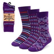 3pcs (3 Pairs) Men's Purple Casual Fancy Socks 3PKS/PR