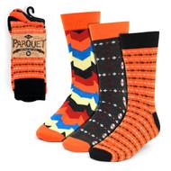 3pcs (3 Pairs) Men's Orange Casual Fancy Socks 3PKS/OR