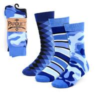 3pcs (3 Pairs) Men's Blue Casual Fancy Socks 3PKS/BL