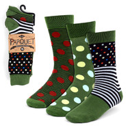 3pcs (3 Pairs) Men's Green Casual Fancy Socks 3PKS/FB