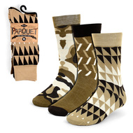 3pcs (3 Pairs) Men's Taupe Casual Fancy Socks 3PKS/TP
