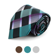 Plaid Microfiber Poly Woven Checked Tie - MPW5731