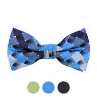 3pc Prepack Men's Poly Woven Plaid Checked Banded Bow Tie FBB5729