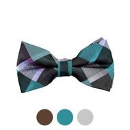 3pc Prepack Men's Poly Woven Plaid Checked Banded Bow Tie FBB5731