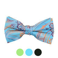 3pc Prepack Men's Poly Woven Paisley Banded Bow Tie FBB5733
