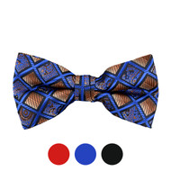 3pc Prepack Men's Poly Woven Paisley Plaid Banded Bow Tie FBB5736