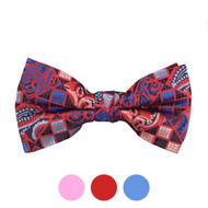 3pc Prepack Men's Poly Woven Paisley Plaid Banded Bow Tie FBB5737