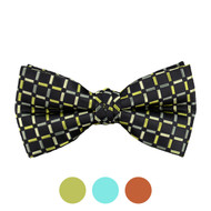 3pc Prepack Men's Poly Woven Checked Banded Bow Tie FBB5738