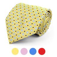 Floral Polka Dot Microfiber Poly Woven Tie - MPW5754
