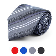 Distressed Striped Microfiber Poly Woven Tie - MPW5767