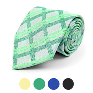 Distressed Plaid Microfiber Poly Woven Tie - MPW5768