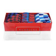 Fancy Multi Colored Socks Gift Red Box (3 paris in Box) SGBL22