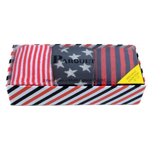 Fancy Multi Colored Socks Striped Gift Box (3 Pairs in Box) MFS1027
