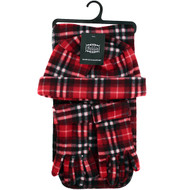 6pc Pack Women's Red Plaid Printed Fleece Winter Set WNTSET1002-RD