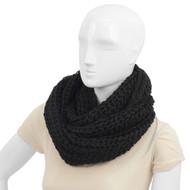 24pc Pack Women's 100% Acrylic Fuzzy Black Infinity Scarf WSET23