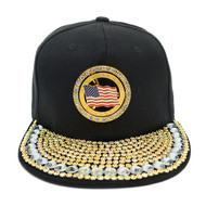Bling Studs Snap-Back Cap with Spinning USA Flag Emblem CPG161101