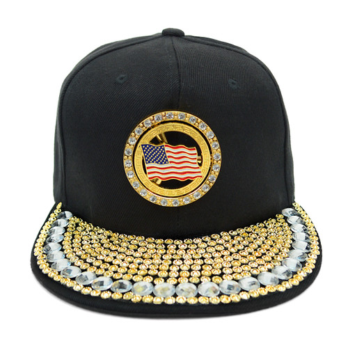 Bling Studs Snap-Back Cap with Gold Spinning USA Flag Emblem CPG161101