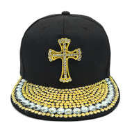 Bling Studs Snap-Back Cap with Cross Emblem CPG161102
